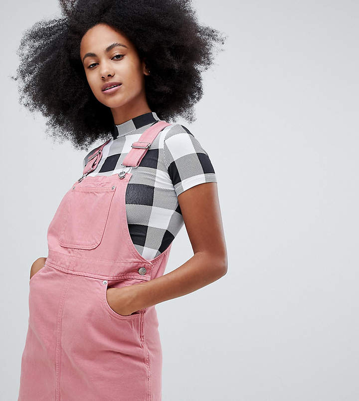 Monki denim overall dress with organic cotton in pink