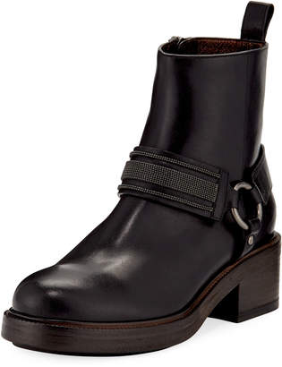 Brunello Cucinelli Leather Riding Ankle Boots