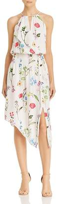Parker Herley Asymmetric Floral-Print Silk Dress