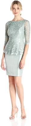 Adrianna Papell Women's 3/4 Sleeve Lace Peplum Dress