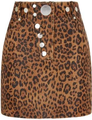 Alexander Wang Leopard Haircalf Mini Skirt