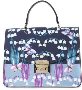 Furla Metropolis M Blue Leather Handbag With Butteflies And Flowers