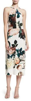 Sachin + Babi Ramani Halter-Neck Floral-Print Midi Cocktail Dress