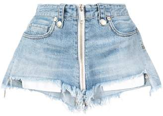 Unravel Project high waisted zipped denim shorts