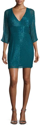 Aidan MattoxAidan Mattox 3/4-Sleeve Beaded Cocktail Dress, Teal
