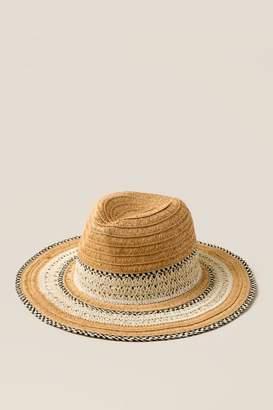 francesca's Thalia Straw Panama Hat - Black/White