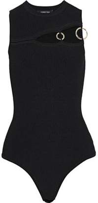 Cushnie et Ochs Ring-Embellished Cutout Ribbed-Knit Bodysuit