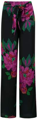 AMIR SLAMA roses print wide leg trousers