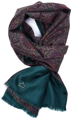 Serà Fine Silk - Green Paisley Wool and Silk Scarf