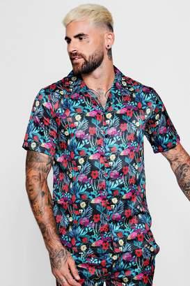 boohoo Floral Print Short Sleeve Revere Satin Shirt