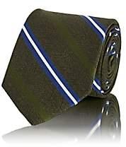 Fairfax Men's Striped Herringbone-Weave Silk Necktie - Green