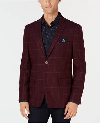 Tallia Men Slim-Fit Burgundy/Grey Windowpane Wool Sport Coat