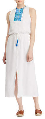 Lauren Ralph Lauren Embroidered Linen Midi Dress