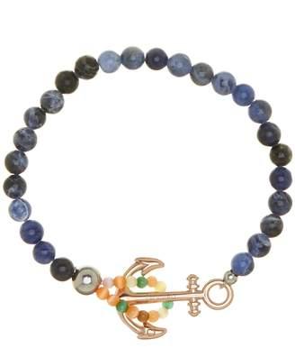 Cat Eye Jean Claude Sodalite & Stone Anchor Beaded Bracelet