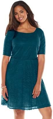 Wrapper Juniors' Plus Size Lace A-Line Dress
