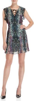 Karen Millen Snakeskin Print Ruffle Dress