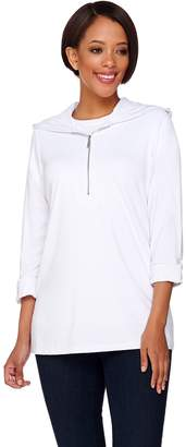 Susan Graver Dolce Knit 3/4 Sleeve Half Zip Tunic with Hood