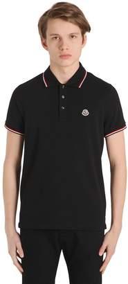 Moncler Logo Striped Cotton Piqué Polo Shirt