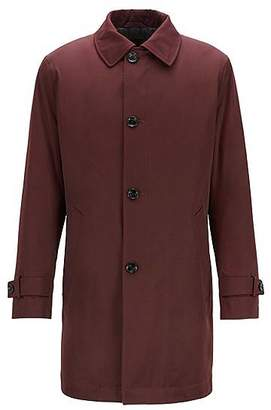 HUGO BOSS Regular-fit overcoat in twill with quilted lining