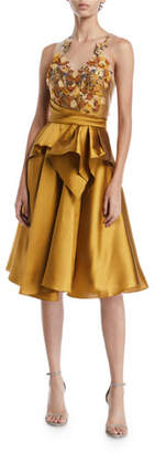 Marchesa Halter Illusion & Embroidered Bodice Dress
