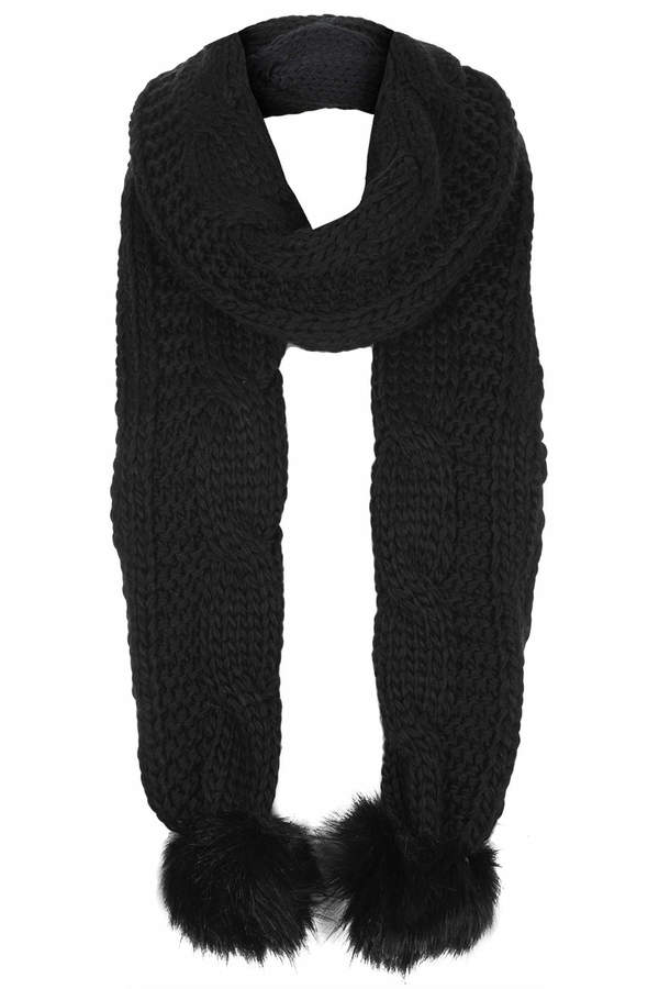 Topshop Black knitted cable scarf with faux fur pom detail. 100% acrylic.