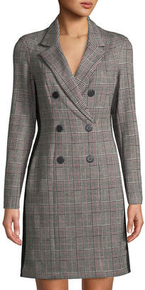 Donna Morgan Double-Breasted Stretch Plaid Coat Dress