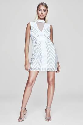 boohoo Premium Sheer Back Embellished Mini Dress