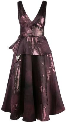 Marchesa metallic-print flared dress