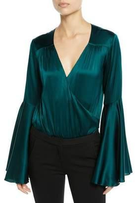 Caroline Constas Bell-Sleeve Silk V-Neck Bodysuit