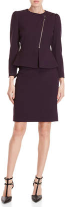 Tahari Arthur S. Levine Petite Two-Piece Asymmetric Zip Skirt Suit