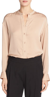 Vince Band-Collar Stretch-Silk Pintuck-Placket Blouse $295 thestylecure.com
