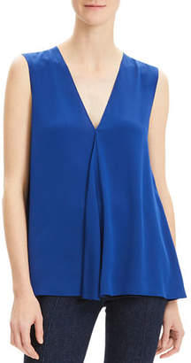 8b72ed03773921 Theory Silk V-Neck Draped-Front A-Line Top