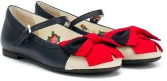 Gucci Kids Web bow ballerina shoes