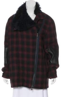 3.1 Phillip Lim Fur-Trimmed Patterned Coat