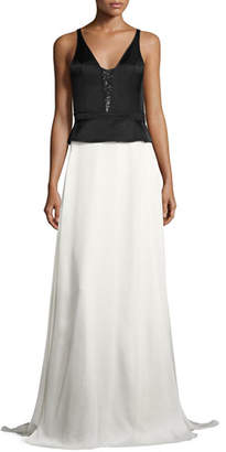 Narciso Rodriguez Two-Tone Satin Sequined Peplum Gown