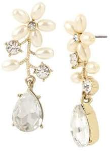 Miriam Haskell Vintage Pearl Flower Crystal and Faux Pearl Drop Front Back Earrings