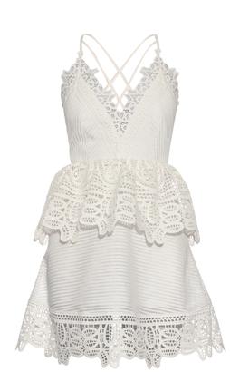 SELF-PORTRAIT Lace-peplum open-back dress $497 thestylecure.com