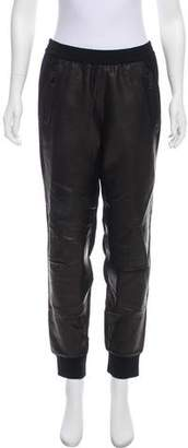 Vince Leather Paneled Jogger Pants