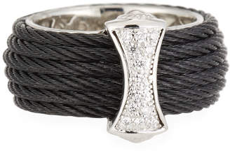 Alor Classique Steel & 18k Diamond Micro Cable Ring, Size 7, Black