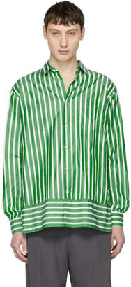Ami Alexandre Mattiussi Green and White Summer Fit Shirt