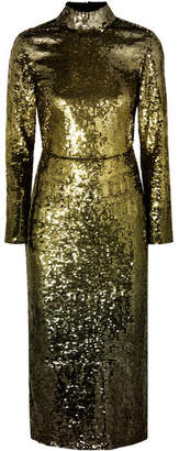 Temperley London Ruth Open-back Sequined Tulle Midi Dress - Gold