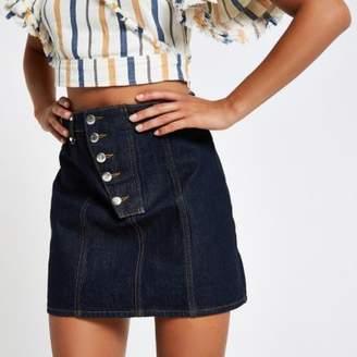 River Island Womens Dark blue raw denim A line mini skirt