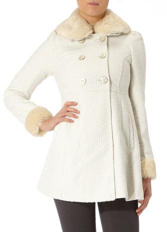 Dorothy Perkins Ivory textured faux fur trim coat