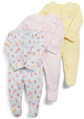 Mamas and Papas Baby Girls 3 pack Ice Cream Sleepsuits