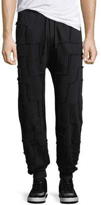 Marcelo Burlon County of Milan Jogger Pants with Frayed Squares