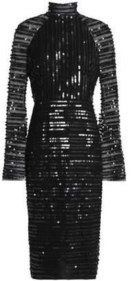 Rachel Gilbert Cutout Sequined Tulle Dress