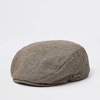 River Island Mini boys Brown printed flat cap
