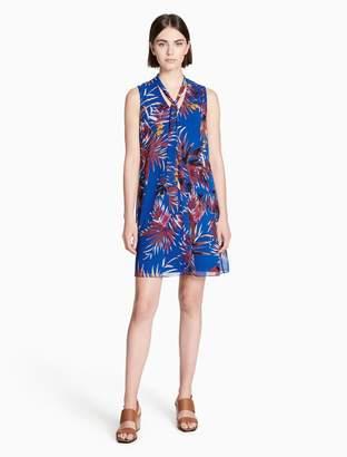 Calvin Klein floral tie neck sleeveless trapeze dress
