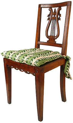 One Kings Lane Vintage Harp-Back Chair with Rush Seat - N.P.Trent Antiques