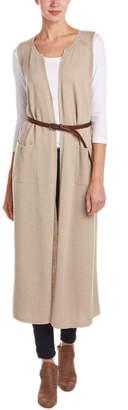 Splendid Belted Wool-Blend Long Vest
